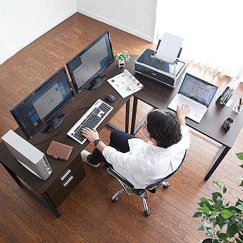L字型ワークデスク 木製 幅120cm+100cm コーナーデスク 収納キャビネット付 壁寄せ ダークブラウン 100-DESKH012BR サンワサプライ