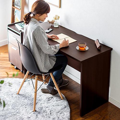 ワークデスク W120cm 書斎机 木製 シンプル 在宅勤務 テレワーク ブラウン 100-DESKH027M サンワサプライ
