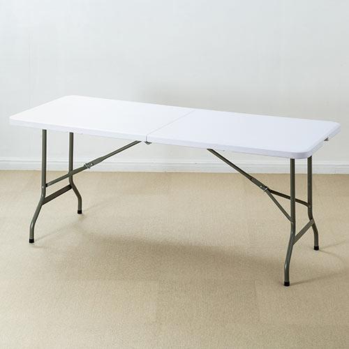 折りたたみテーブル 持ち運び 省スペース W1800mm D740mm アウトドア 簡単組立 取っ手付き ホワイト 100-FD016W サンワサプライ