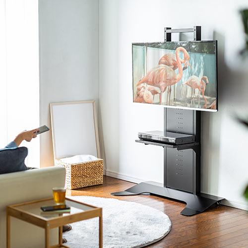 テレビスタンド テレビ台 壁寄せ 置き型 縦置き ロータイプ 高さ調整 棚 32から65インチ対応 ブラック 100-PL017BK サンワサプライ