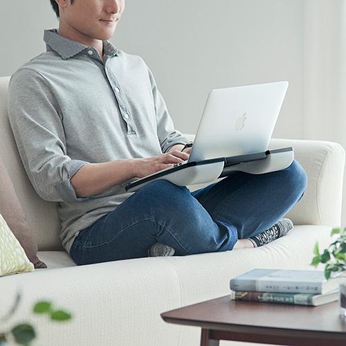 新品 クッションテーブル 膝上 本物 ノートパソコン タブレット ラップトップテーブル 車 食卓 200-HUS005BK ブラック サンワサプライ 読書 即納最大半額