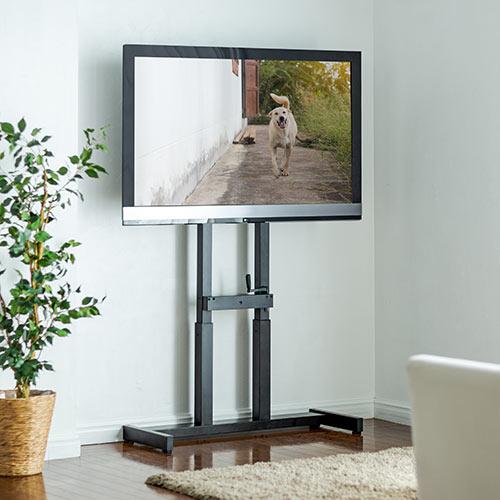 テレビスタンド テレビ台 壁寄せ 置き型 薄型 昇降 高さ調整 55から65インチ対応 VESA ブラック 100-PL015 サンワサプライ