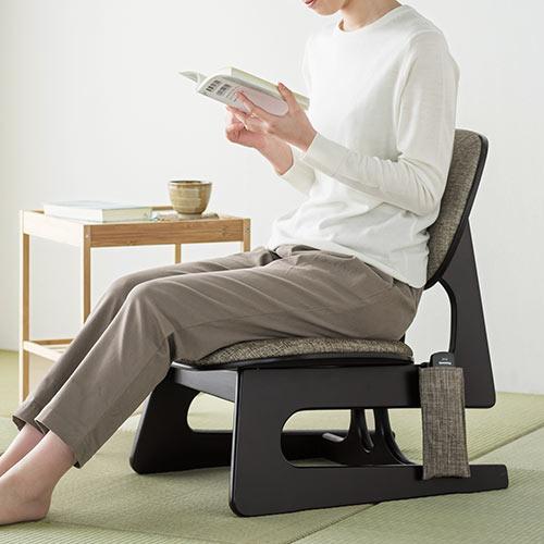 低座椅子 座敷椅子 和室 あぐら 腰痛 背もたれ 姿勢 木製 ファブリック デザイン リモコン収納 敬老の日 プレゼント 150-SNCF015 サンワサプライ