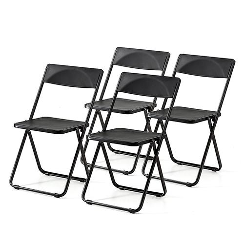 折りたたみ椅子 4脚セット パイプ椅子 軽量 スリム おしゃれ デザイン 収納 アウトドア 3.8kg 完成品 ブラック 150-SNCH006BK サンワサプライ