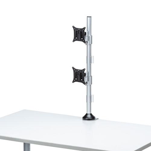 モニターアーム 2画面 デュアル 縦 ポール ロング 支柱 クランプ ネジ固定 チルト 左右 回転 VESA 高さ72cm CR-LA1805 サンワサプライ
