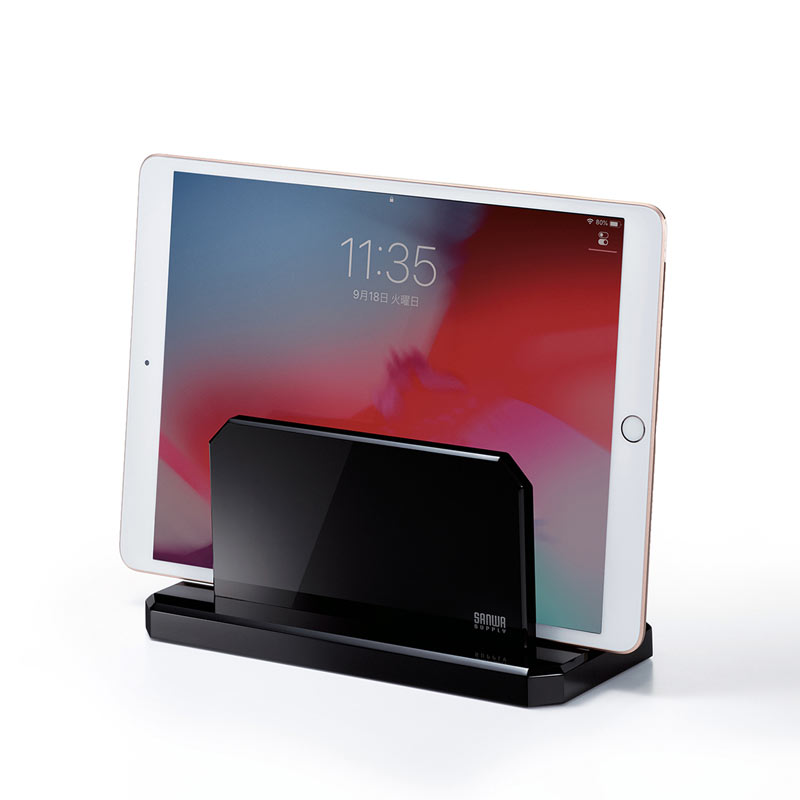 訳あり 人気ショップが最安値挑戦 ブランド激安セール会場 新品 ノートパソコンスタンド タブレット対応 アクリル 縦置き ブラック クラムシェルモード 収納 PDA-STN32BK サンワサプライ