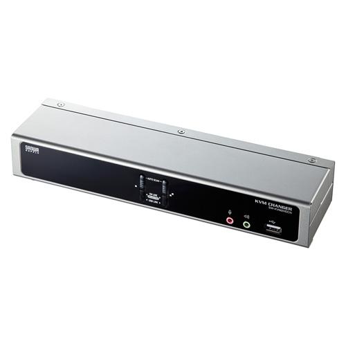 パソコン切替器 USB2.0ハブ 2ポートまで デュアルリンクDVIにも対応 PS/2 USB接続 自動 2:1 エミュレーション機能 SW-KVM2HDCN サンワサプライ