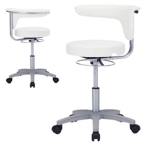 丸椅子 スツール 病院向け レザー 抗菌 耐アルコール 背もたれ可動 肘掛け 2WAY 高さ調節 モールドウレタン 回転 キャスター ホワイト SNC-HP3VW2 サンワサプライ