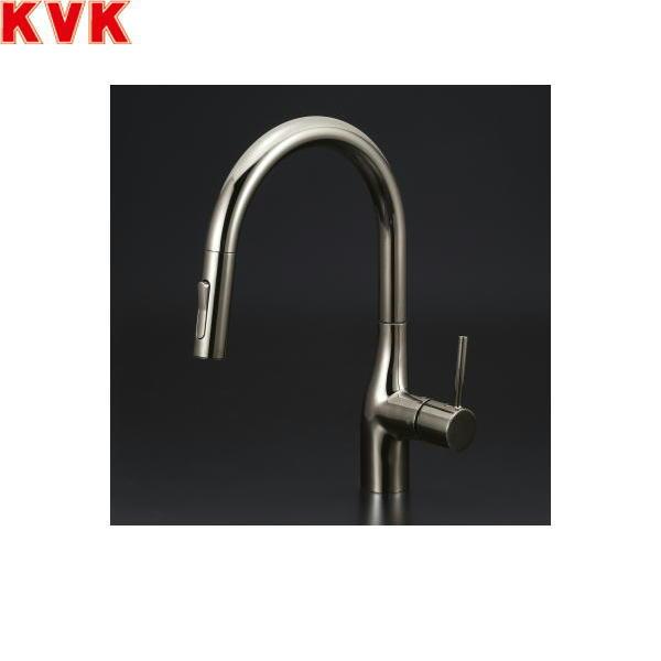 [KM6061ECBN]KVK流し台用シングルレバー式シャワー付混合水栓[一般地仕様][黒ニッケルめっき]【送料無料】
