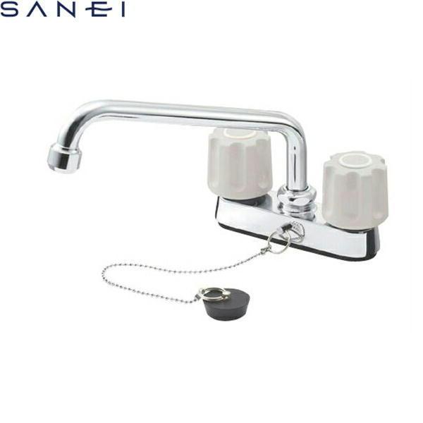 三栄水栓[SAN-EI]ツーバルブ台付混合水栓(ゴム栓付)K711R-LH[一般地仕様]【送料無料】