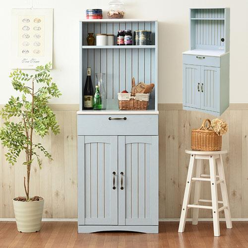 フレンチカントリー 食器棚 カップボード 幅 60 高さ 160 コンセント付き 引き出し 付き 扉付き収納 棚 キッチンボード キッチン収納 キッチン 収納 姫 木製
