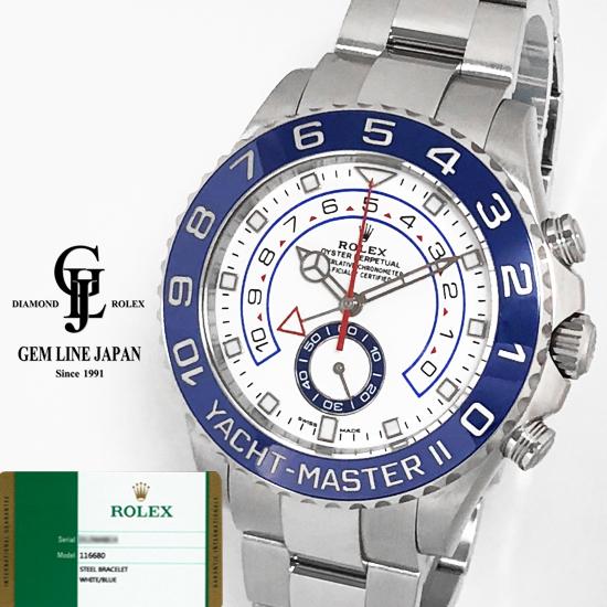 【中古】ギャラ付 ロレックス ヨットマスターII 116680 ベンツ針 ランダム番 ルーレット刻印 メンズ 自動巻き 腕時計