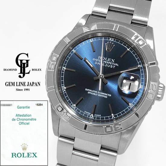【中古】ギャラ付 ロレックス デイトジャスト サンダーバード 16264 Y番 ブルーバー メンズ 自動巻き 腕時計