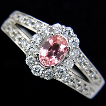 パパラチアサファイア0.334ct ダイヤモンド0.33ct Pt900リング【新品】【稀少石】