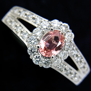 パパラチアサファイア0.371ct ダイヤモンド0.33ct Pt900リング【新品】【稀少石】