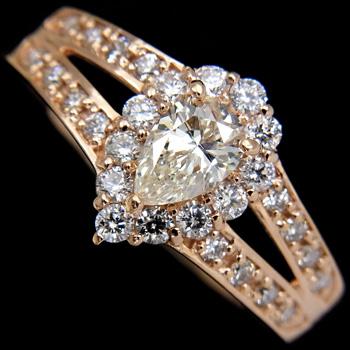 【新品】ペアシェイプ ダイヤモンド リング 0.341ct K-SI1 K18PG