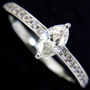 【新品】マーキスカット ダイヤモンド リング プラチナ 0.384ct Jカラー VSクラス