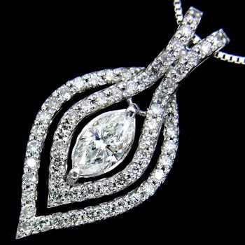 【新品】ダイヤモンド プチ ネックレス レディース G-I1 マーキーズカット ダイヤ0.338ct ホワイトゴールド