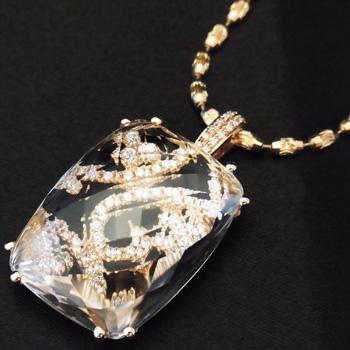 【新品】水晶 プチ ネックレス レディース K18PG ダイヤモンド 0.50ct
