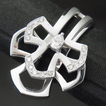 【新品】クロスモチーフ メンズ リング ダイヤモンド 0.35ct K18WG 指輪