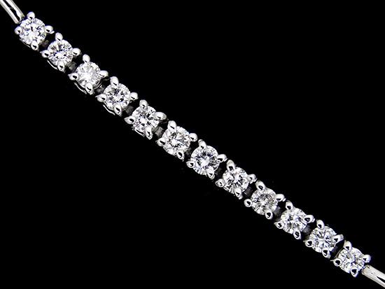 良質ダイヤモンド1.73ct K18WGラインブレスレット【中古】