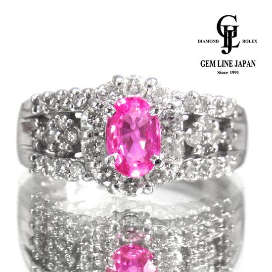 【中古】ピンクサファイア 0.56ct ダイヤモンド 0.56ct リング レディース Pt900 11号