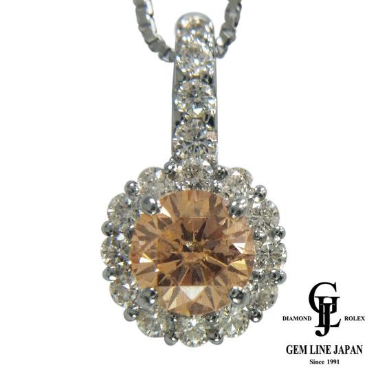 【中古】ダイヤモンド 0.66ct/0.35ct ネックレス レディース プラチナ ブラウン