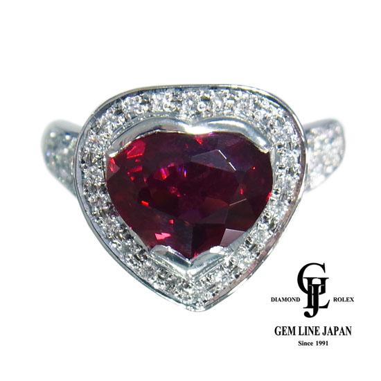 【中古】ロードライトガーネット 3.09ct ダイヤモンド 0.67ct リング レディース プラチナ