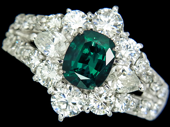 稀少石 アレキサンドライト0.95ct 上質ダイヤモンド1.50ct Pt900リング【中古】