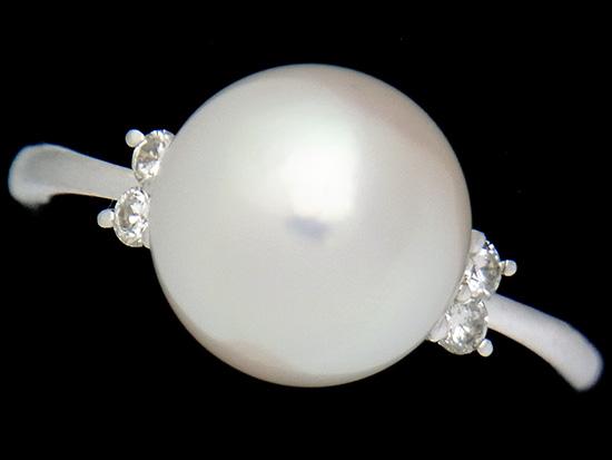 アコヤ花珠真珠9.0mm ダイヤ入Pt900リング【中古】