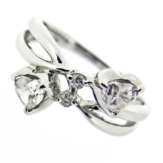 ハートシェイプ ダイヤモンド0.311ct K18WGピンキーリング【中古】