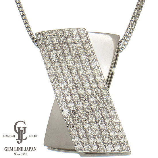 【美品】3.00ct ダイヤモンド ネックレス K18WG パヴェセッティング レディース&メンズジュエリー【中古】