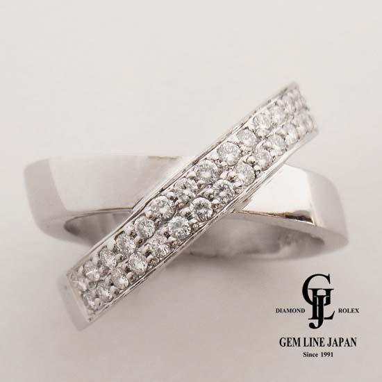 【中古】【美品】Aランクダイヤ使用 ダイヤモンド0.46ct K18WGリング