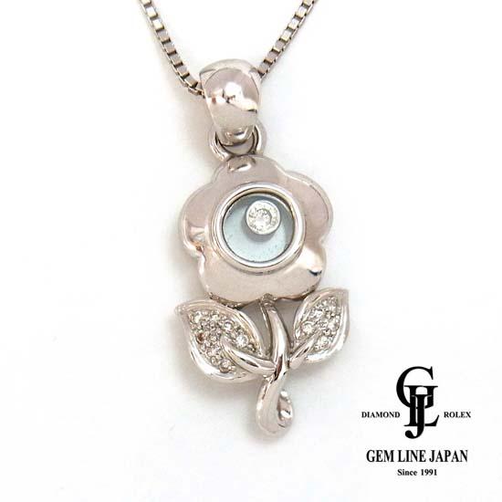 【中古】【美品】 K18WG ダイヤモンド0.12ct ショパール風ネックレス