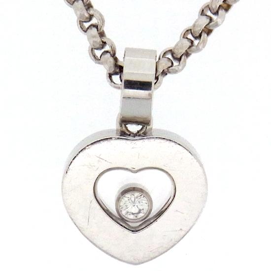 【中古】Chopard ショパール ハッピーダイヤモンド ペンダント ハート ホワイトゴールド 1Pダイヤ プチネックレス