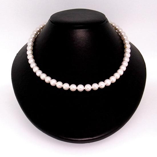2点セット 花珠パール8mm-8.5mm アコヤ真珠ネックレス/加工可能珠付き