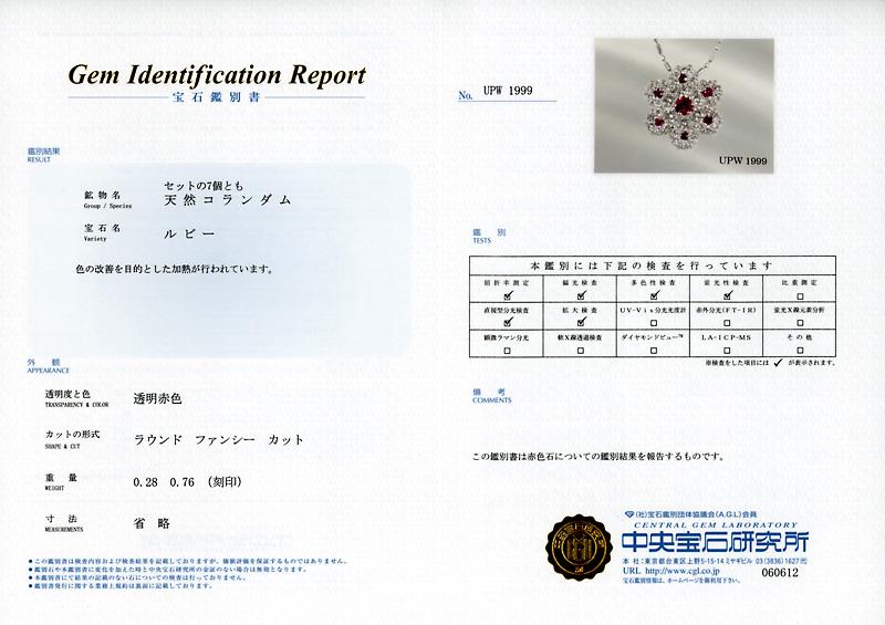 フラワーモチーフ ルビー0.28ct ダイヤ0.76ct Pt900/Pt850プチネックレス【新品】