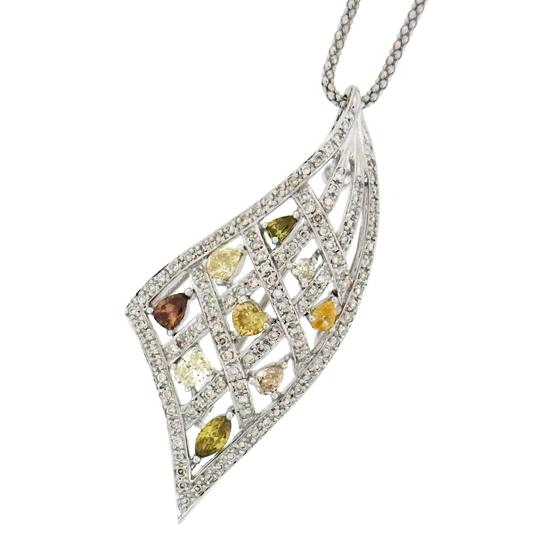 【新品】マルチナチュラルカラーダイヤ0.50ct プチネックレス レディース ダイヤモンド1.45ct K18WGペンダント