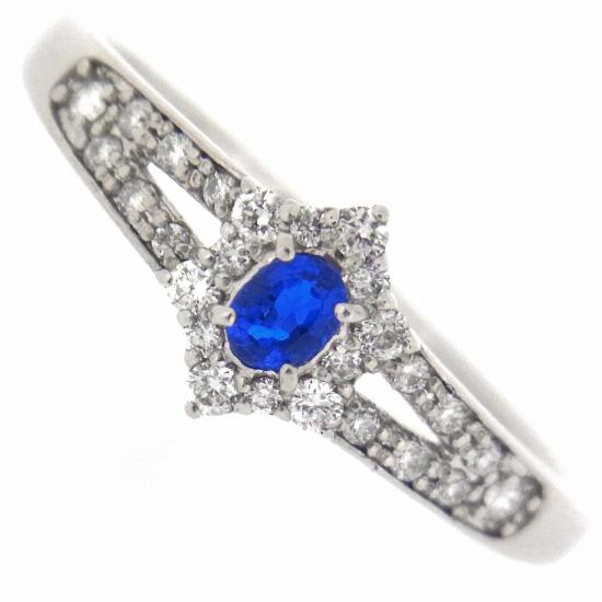 綺麗なブルー 稀少石アウイナイト0.09ct ダイヤモンド0.18ct プラチナリング【新品】