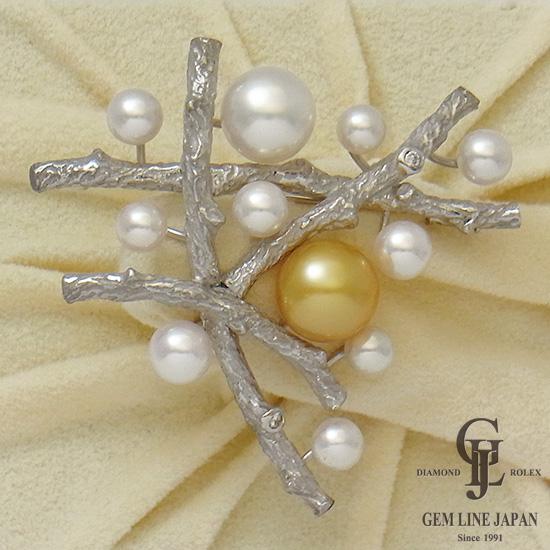【新品】K18WG/K14WG パール ブローチ 南洋真珠 10mm 11mm ダイヤモンド0.07ct