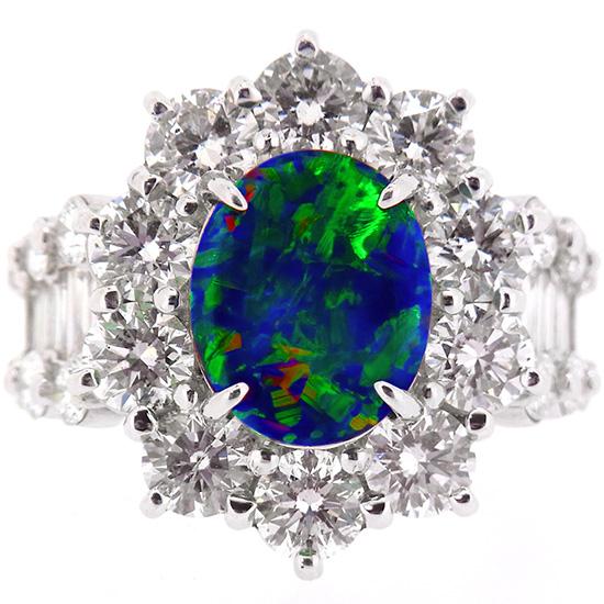 高品質ブラックオパール2.70ct ダイヤモンド4.66ct Pt900リング【新品】