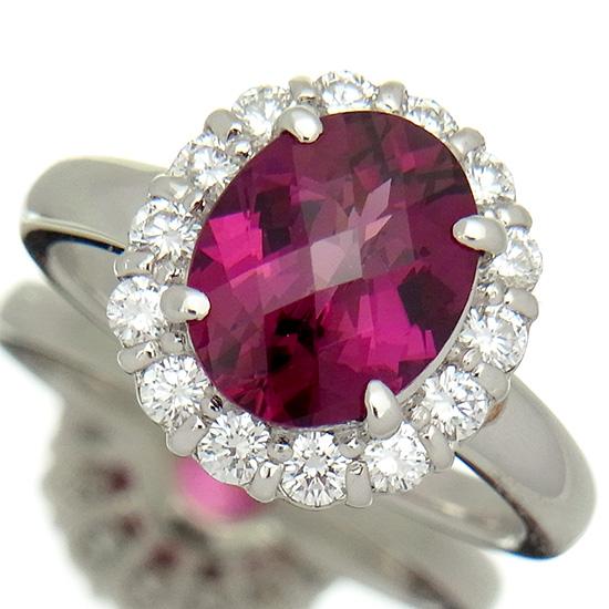 ピンクトルマリン2.59ct 上質ダイヤモンド0.515ct プラチナリング【新品】