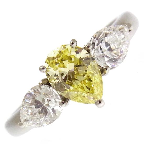 全石ペアーシェイプカット 大粒ダイヤモンド リング プラチナ FLY-VS2 イエローダイヤ1.050ct[E-SI1 ダイヤ0.593ct][E-VS2 ダイヤ0.569ct] 指輪【中古】