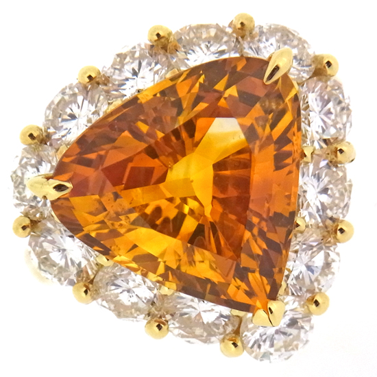 大粒ゴールデンサファイア8.889ct ダイヤモンド2.94ct K18YGリング【中古】