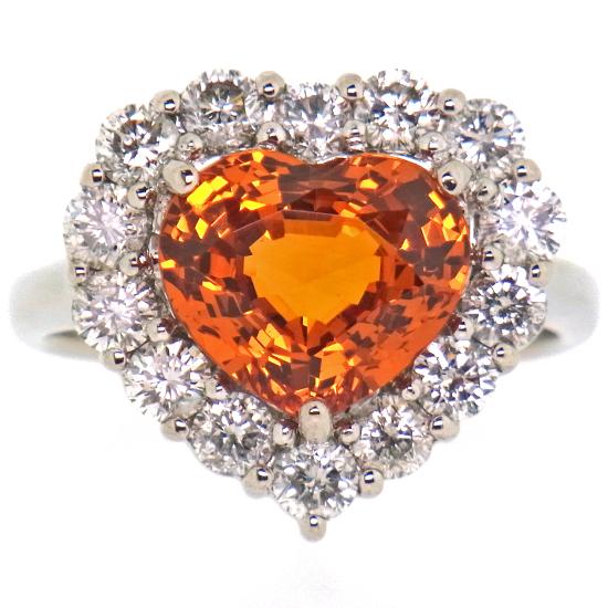 大粒スペサルティンガーネット3.885ct 豪華ダイヤモンド1.20ct Pt900リング【中古】