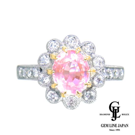 【中古】美品 非加熱パパラチアサファイア 1.75ct ダイヤモンド 0.374ct Pt900/K18 リング