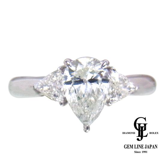 【美品】1.155ct ダイヤモンド リング プラチナ ペアシェイプ【中古】