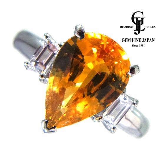 【中古】大粒ゴールデンサファイア 3.492ct ダイヤモンド 0.30ct Pt900 リング GRJソーティング付