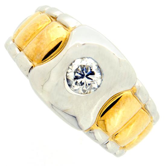 一粒 ダイヤモンド 0.62ct メンズ リング プラチナ・イエローゴールド コンビ台 ラウンドカット【中古】