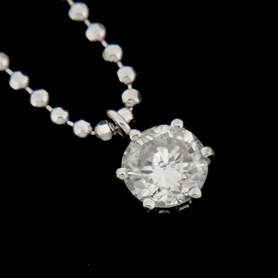 良質 ダイヤモンド ネックレス レディース プラチナ 一粒ダイヤ0.435ct【中古】